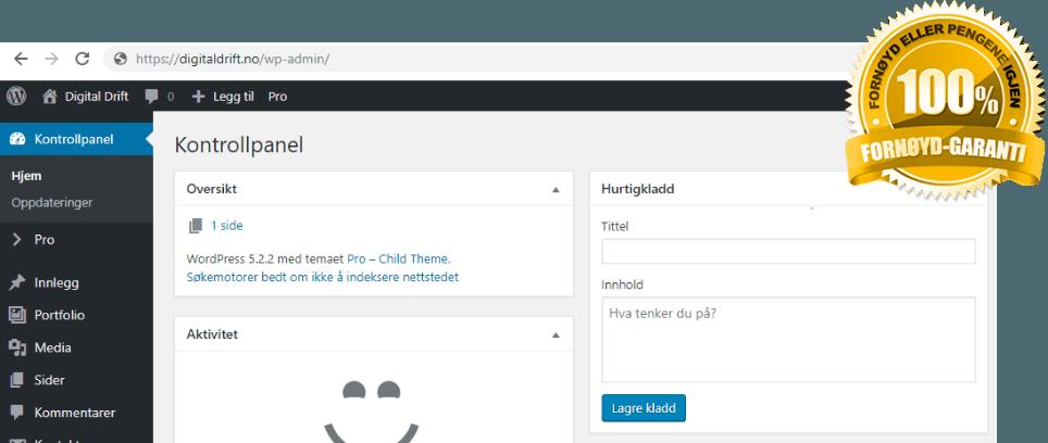 Drift av hjemmesider (WordPress)